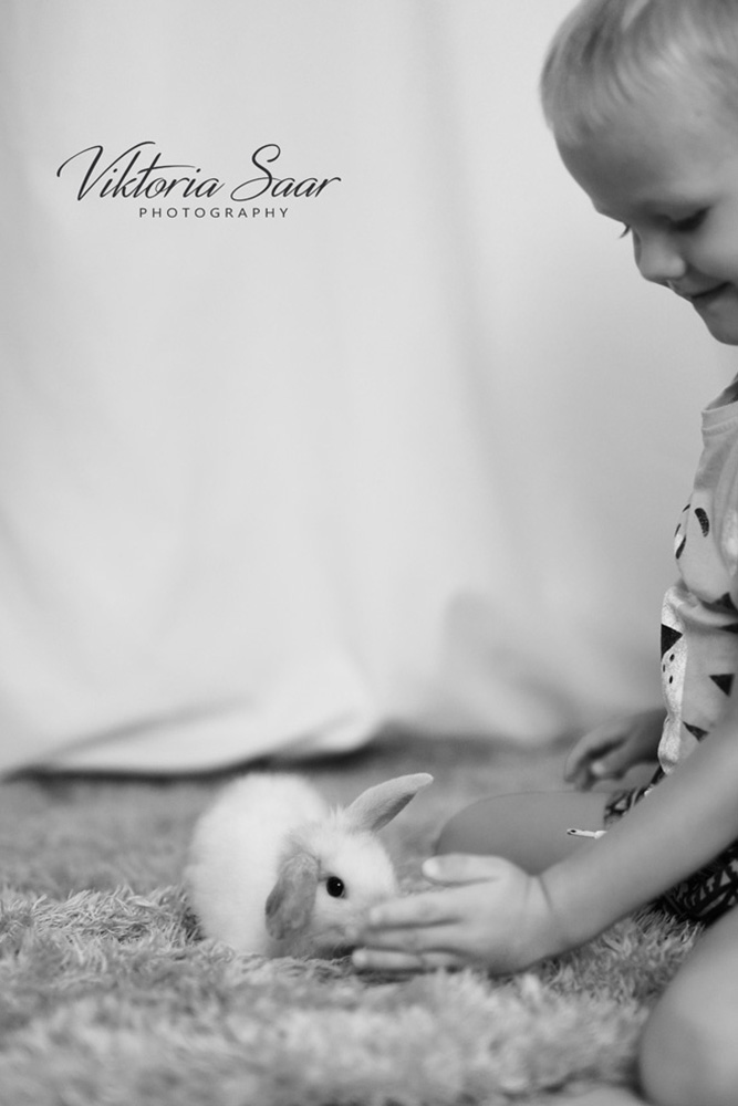 Toddler with bunny black and white