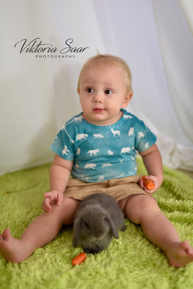 Baby with cute bunny Easter photo shoot