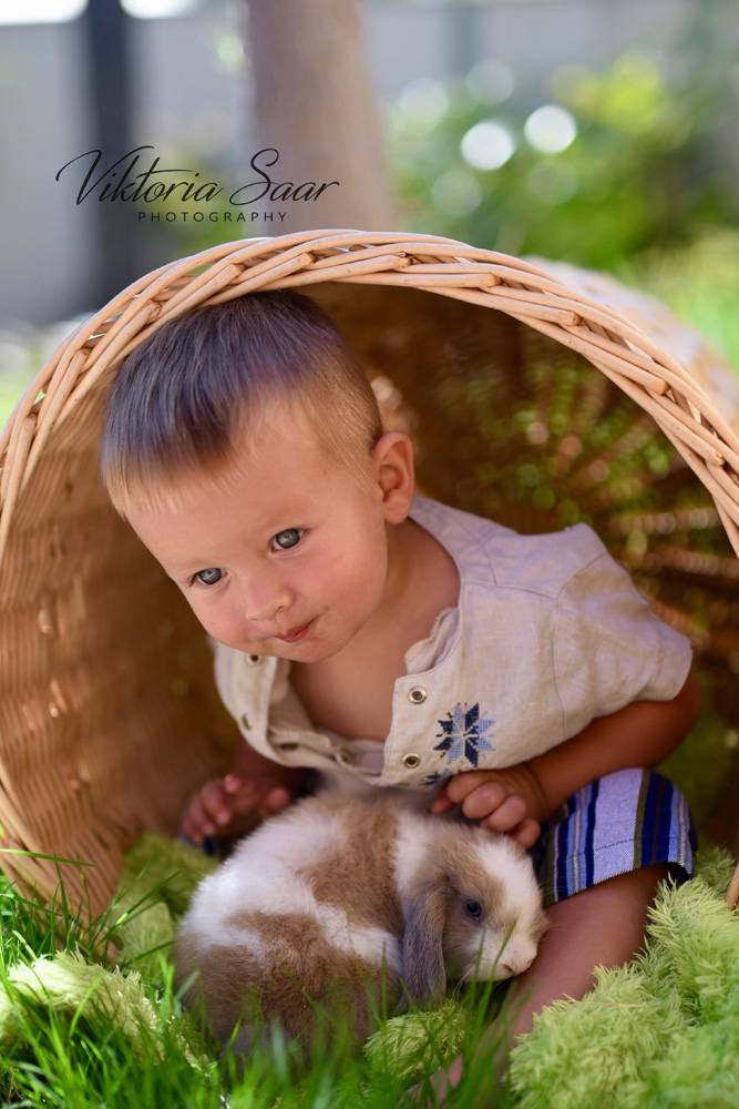 Cute little boy with Easter bunny